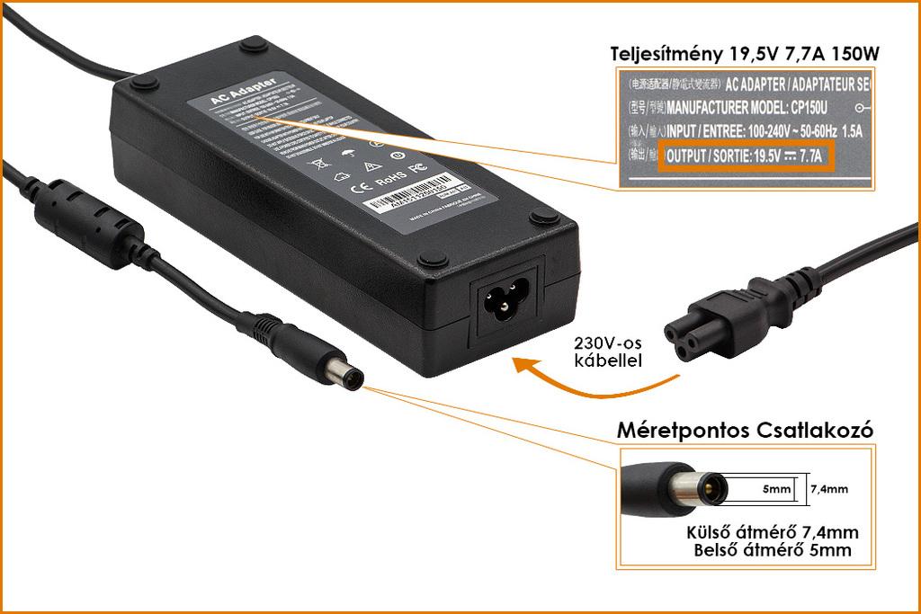 HP 19.5V 7.7A 150W középső tüskés helyettesítő új laptop töltő, (693707-001, 02746-PA-15)
