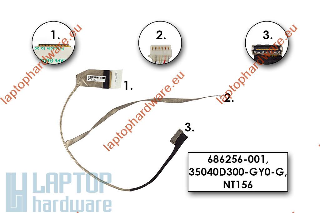 HP 2000, 650 Compaq Presario CQ58 használt laptop LCD kábel (686256-001, 35040D300)