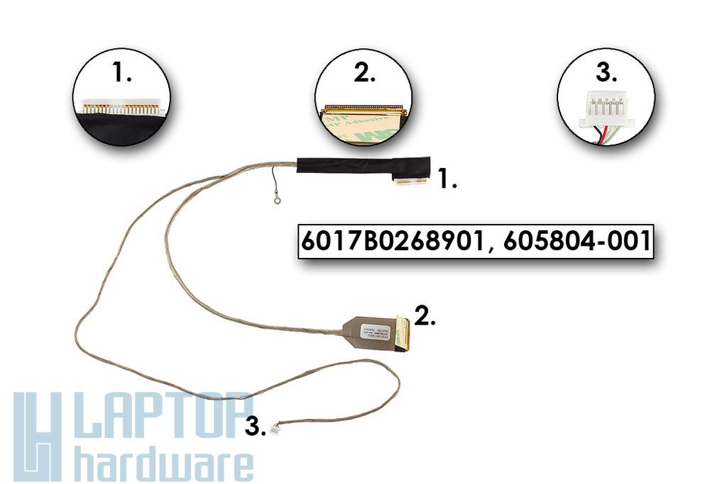 HP 420, 425, 620, 625 laptophoz gyári új LCD kijelző kábel (6017B0268901)