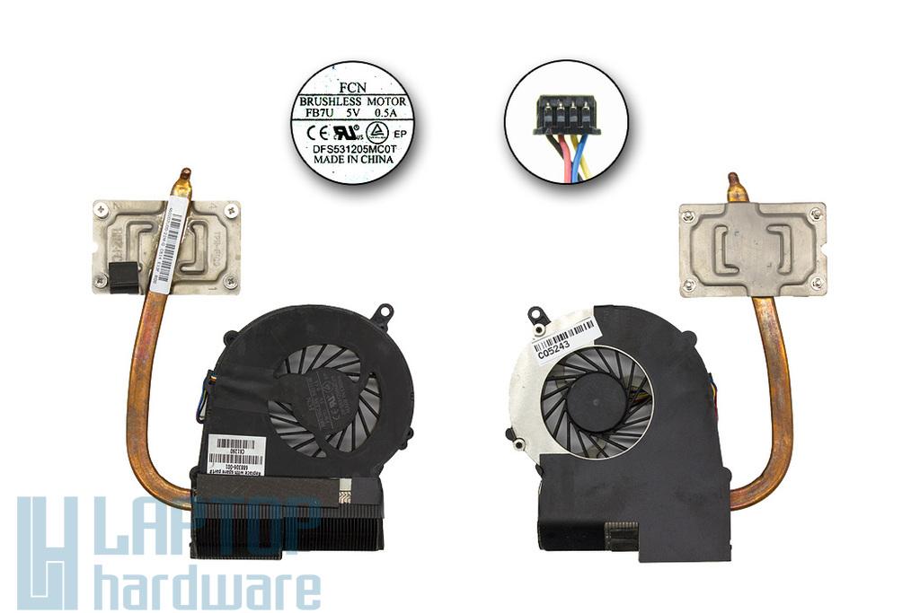 HP 655 használt komplett laptop hűtő egység (UMA) (FB7U, 688306-001)