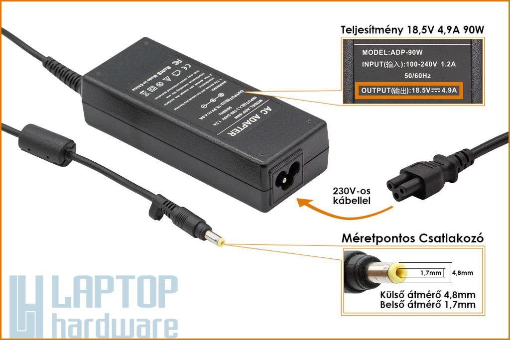 HP Compaq 18.5V 4.9A 90W (4,8mm-1,7mm kúpos fej) helyettesítő új laptop töltő (PA-1900-18H1, 101880-001)