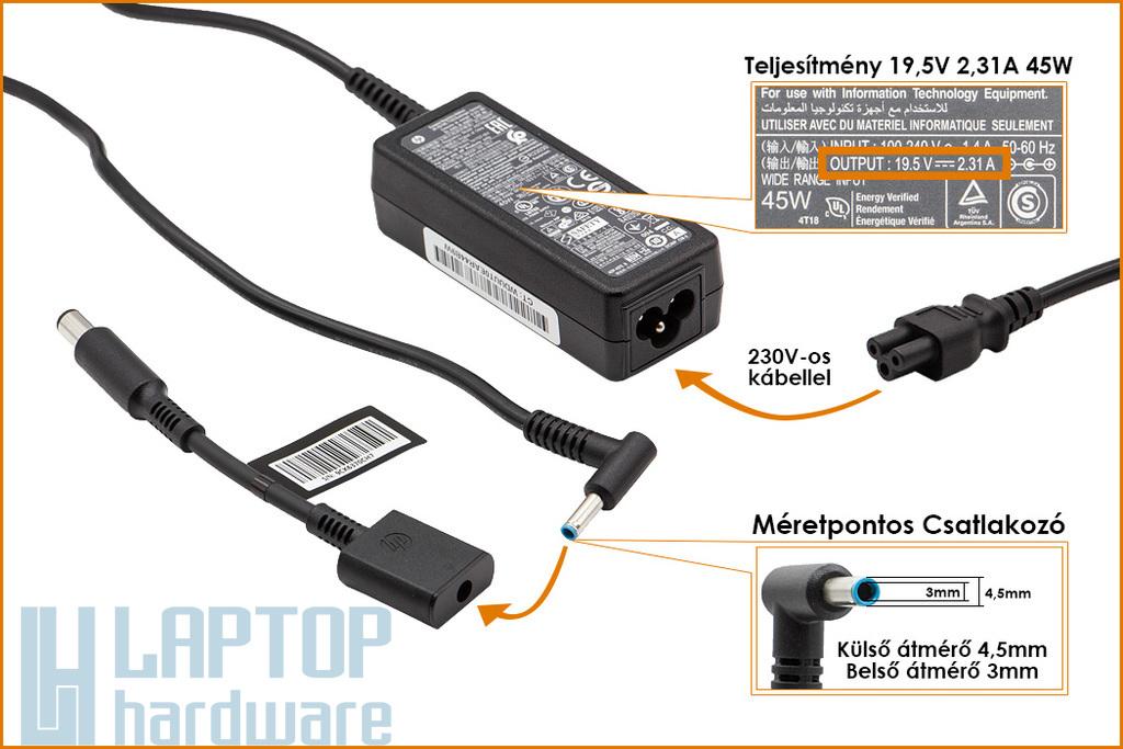 HP Compaq 19.5V 2.31A 45W center-pin, középső tüskés gyári új laptop töltő (744481-003, 744893-001)