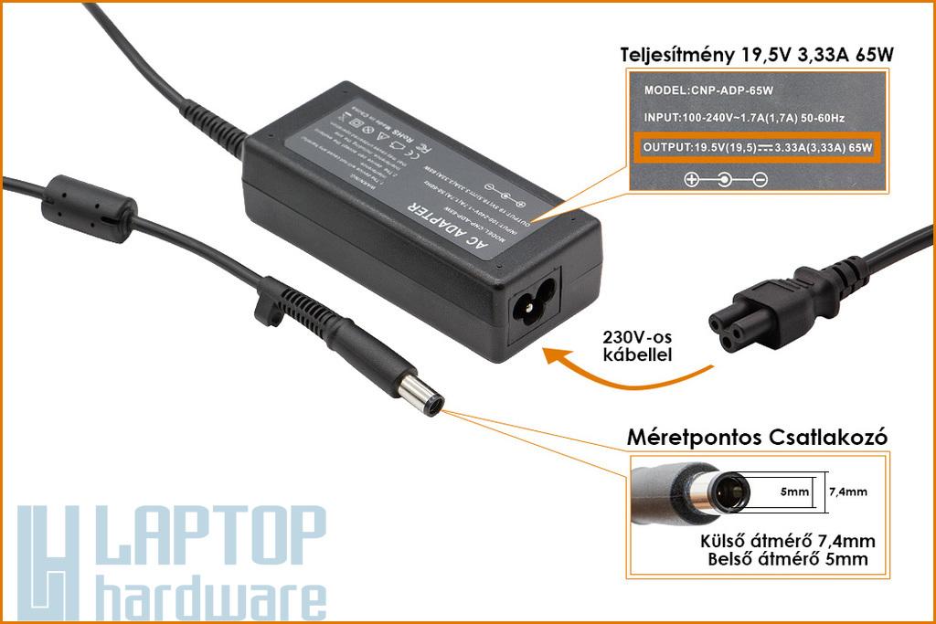 HP Compaq 19.5V 3.33A 65W center-pin, középső tüskés helyettesítő laptop töltő (ED494AA)