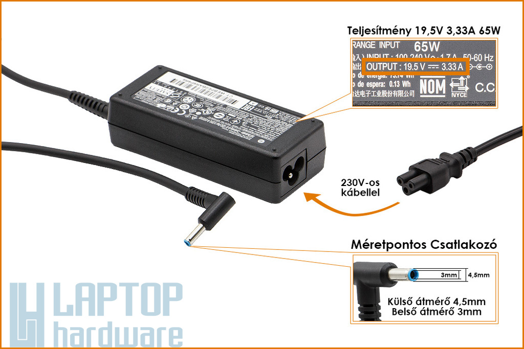 HP Compaq 19.5V 3.33A 65W vékony center-pin, középső tüskés gyári új laptop töltő (709985-003, 710412-001)
