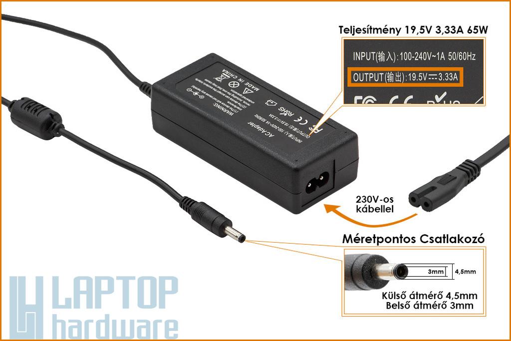 HP Compaq 19.5V 3.33A 65W vékony center-pin, középső tüskés helyettesítő új laptop töltő (709985-003, 710412-001)