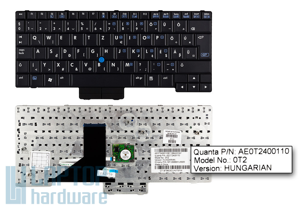 HP Compaq 2510p, 2530p, EliteBook 2530p gyári új magyar laptop billentyűzet (SPS 451748-211)