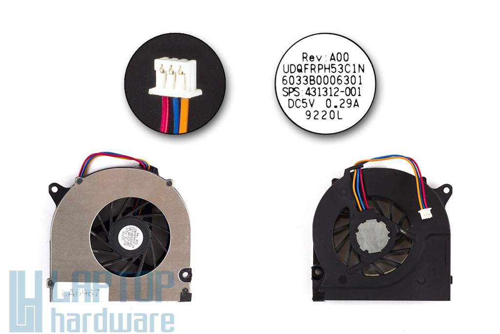 HP Compaq 6730s, 6735s, 6830s használt laptop hűtő ventilátor (431312-001)