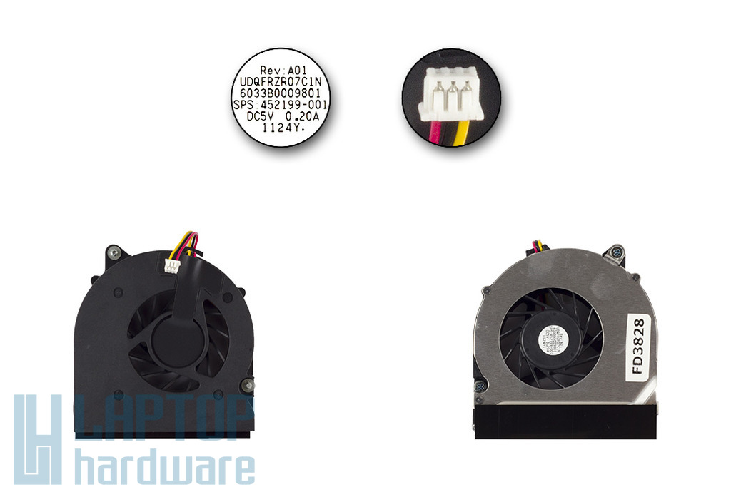 HP Compaq 8510p, 8510w gyári új hűtőventilátor, 452199-001, 452227-001