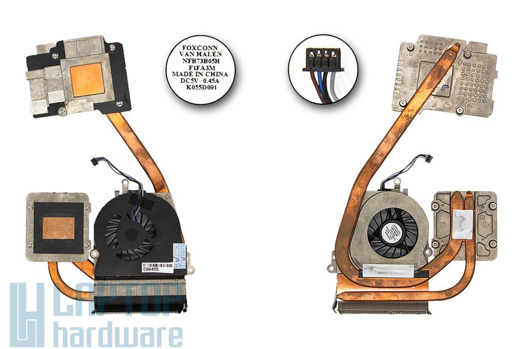 HP Compaq 8560w, EliteBook 8560w használt komplett laptop hűtés (652675-001, NFB73B05H)