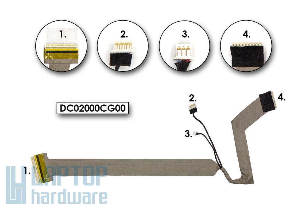HP Compaq 8710p, 8710w használt laptop LCD kijelző kábel (DC02000CG00)