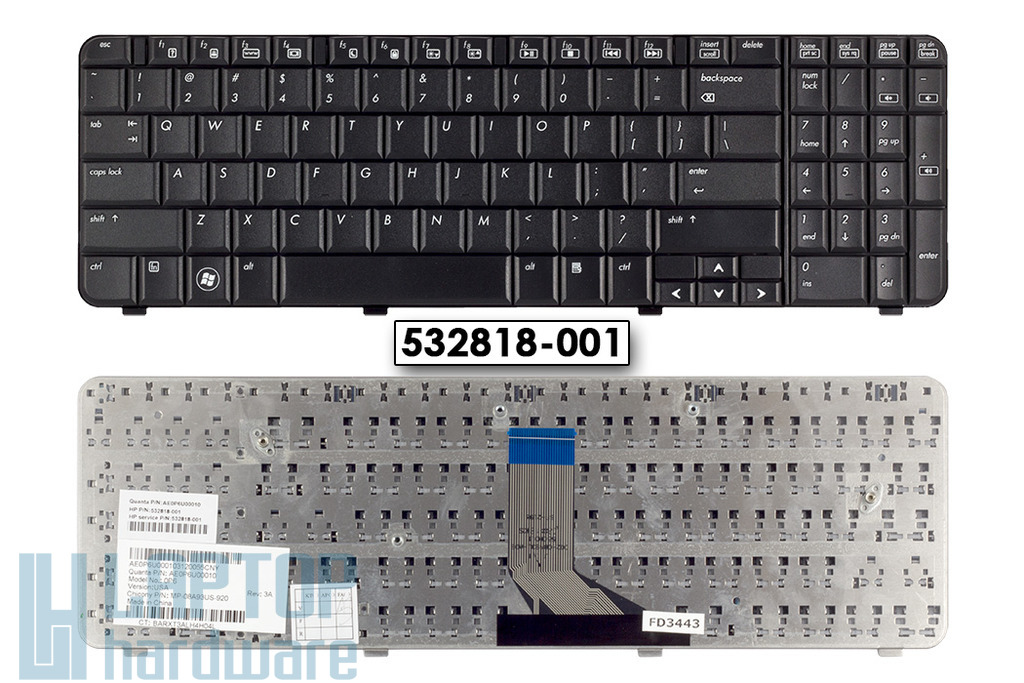 HP Compaq CQ61, G61 gyári új US angol laptop billentyűzet (SPS 532818-001)