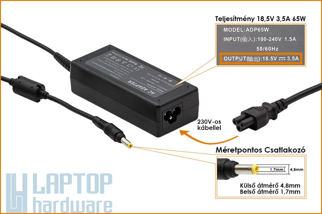HP Compaq DC359A 18.5V 3.5A 65W sárga végű helyettesítő új laptop töltő (380467-001, 239704-001)
