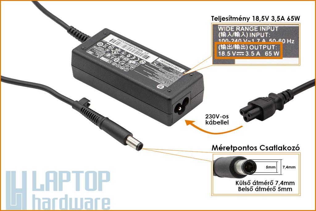 HP Compaq ED494AA 18.5V 3.5A 65W center-pin, középső tüskés gyári új laptop töltő (391172-001, 391172-001)
