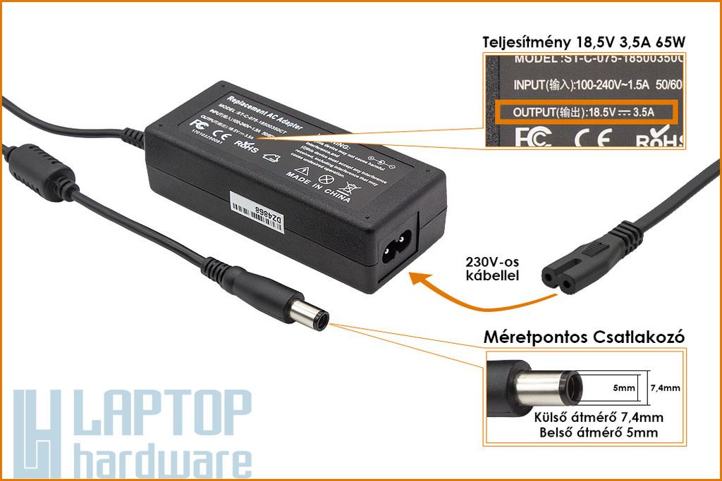 HP Compaq  ED494AA 18.5V 3.5A 65W center-pin középső tüskés helyettesítő új laptop töltő (391172-001, 391172-001)