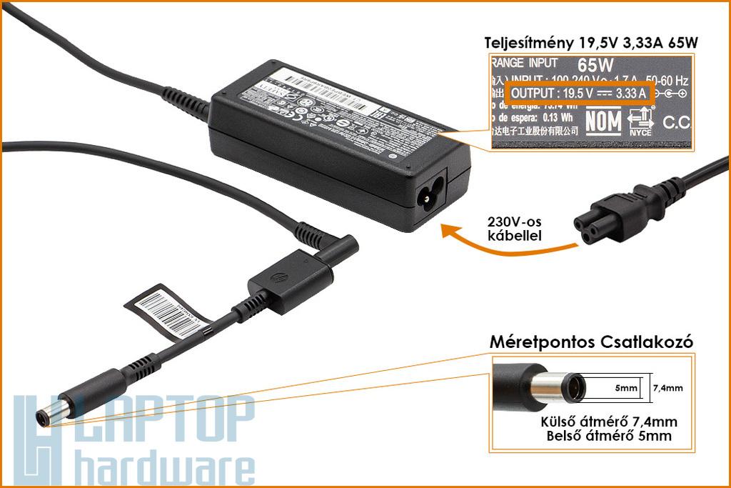 HP Compaq ED494AA 19.5V 3.33A 65W center-pin, középső tüskés gyári új laptop töltő (391172-001, 391172-001)
