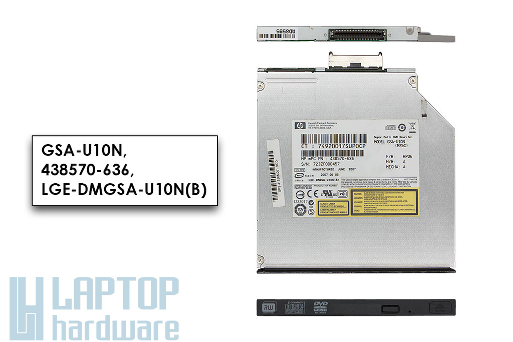 HP Compaq nc6400 laptophoz használt Slim (9.5mm) MultiBay II DVD-író (SPS 418866-001, GSA-U10N)