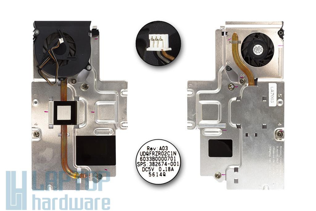 HP Compaq NC8230, NX8220, NW8240 használt komplett laptop hűtő ventilátor egység (6033B0000701)