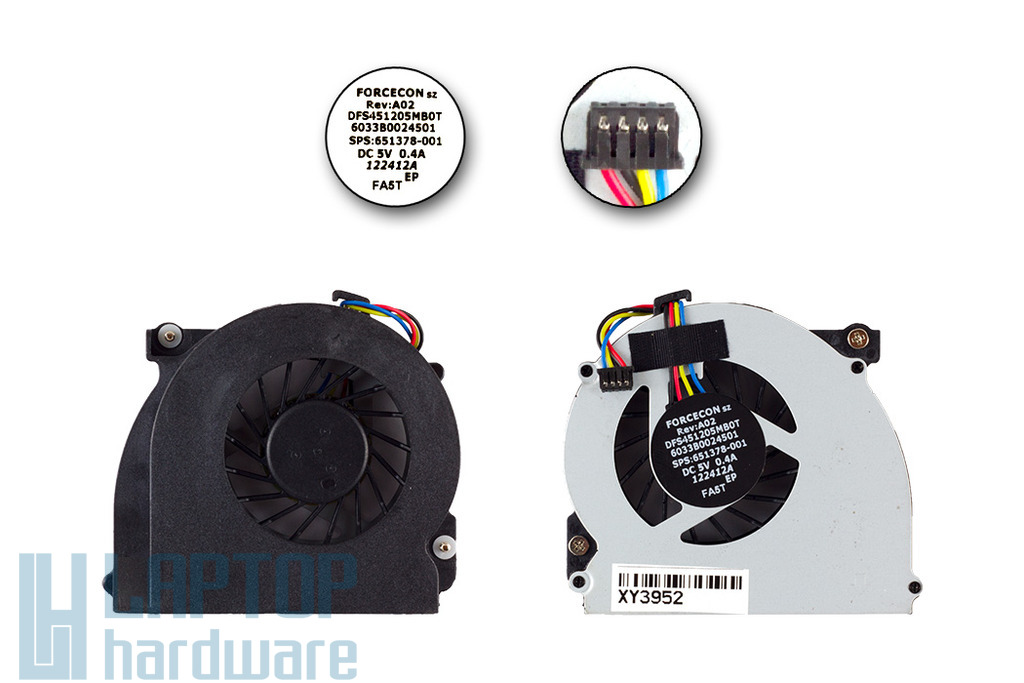 HP EliteBook 2560p, 2570p, ProBook 6560b gyári új laptop hűtő ventilátor (651378-001)