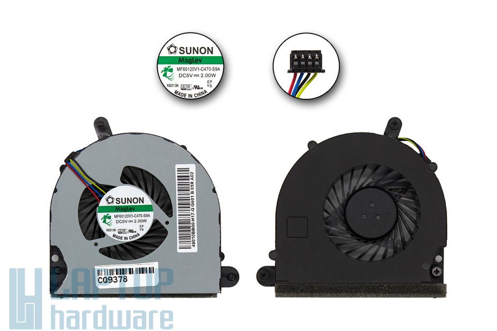 HP EliteBook 8560p gyári új laptop hűtő ventilátor (MF60120V1-C470-S9A, 641183-001)