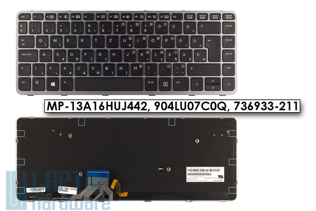HP EliteBook Folio 1040 G1, 1040 G2 gyári új háttér-világításos, magyar szürke-fekete laptop billentyűzet, 736933-211