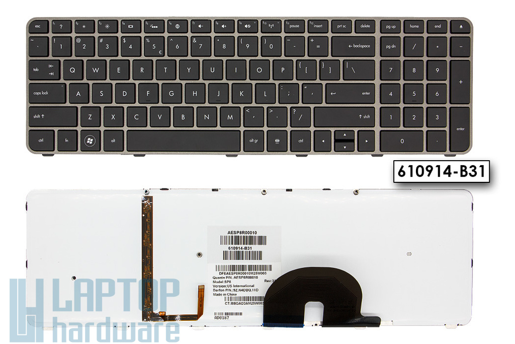 HP Envy 17 gyári új holland háttér-világításos ezüst laptop billentyűzet (603791-B31, 610914-B31)