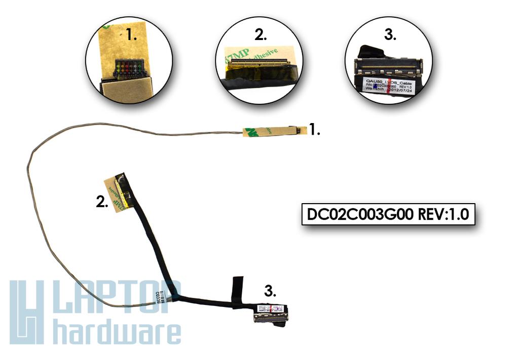 HP Envy 6-1000, 6T-1000 gyári új laptop LCD kijelző kábel (686592-001, DC02C003G00)
