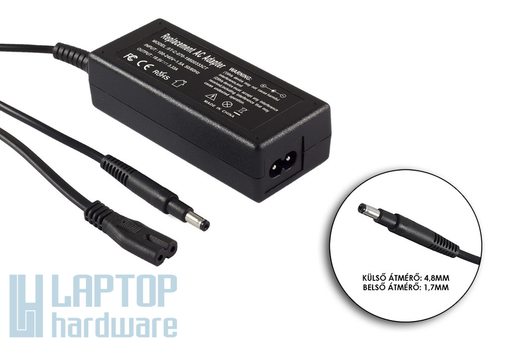 HP Compaq 19.5V 3.33A 65W helyettesítő új laptop töltő, 693715-001