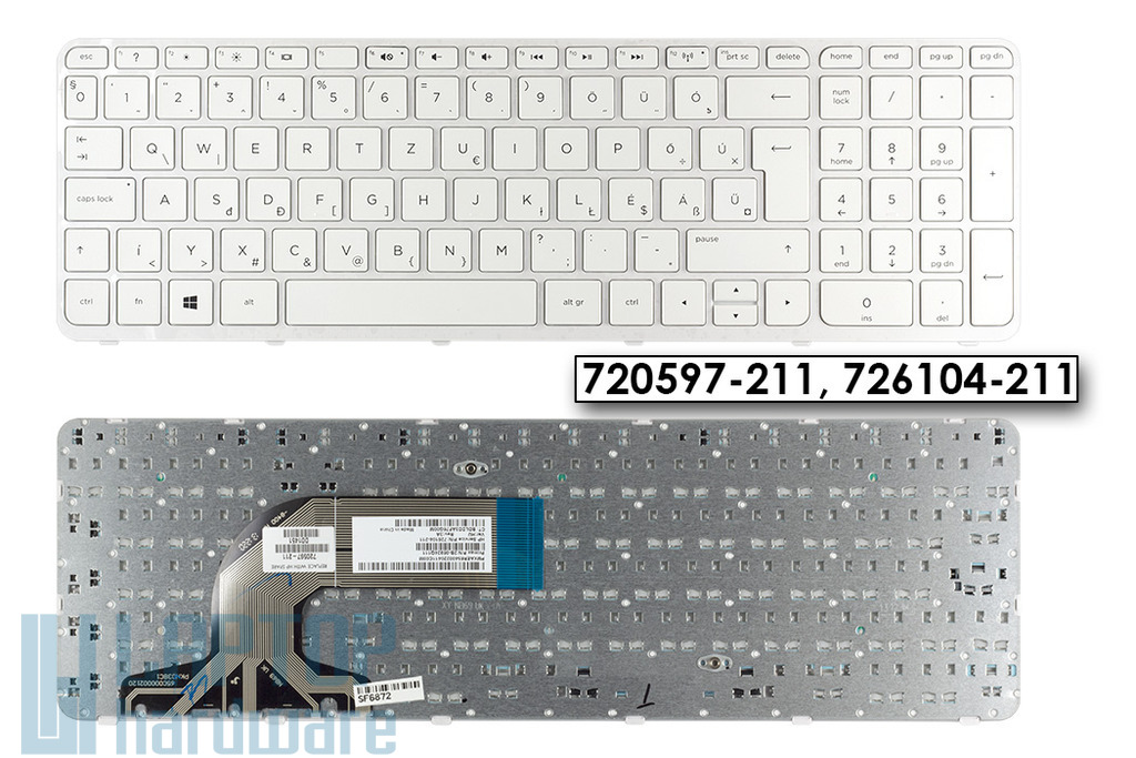 HP 250 G3, Pavilion 15 gyári új magyar fehér laptop billentyűzet, 720597-211