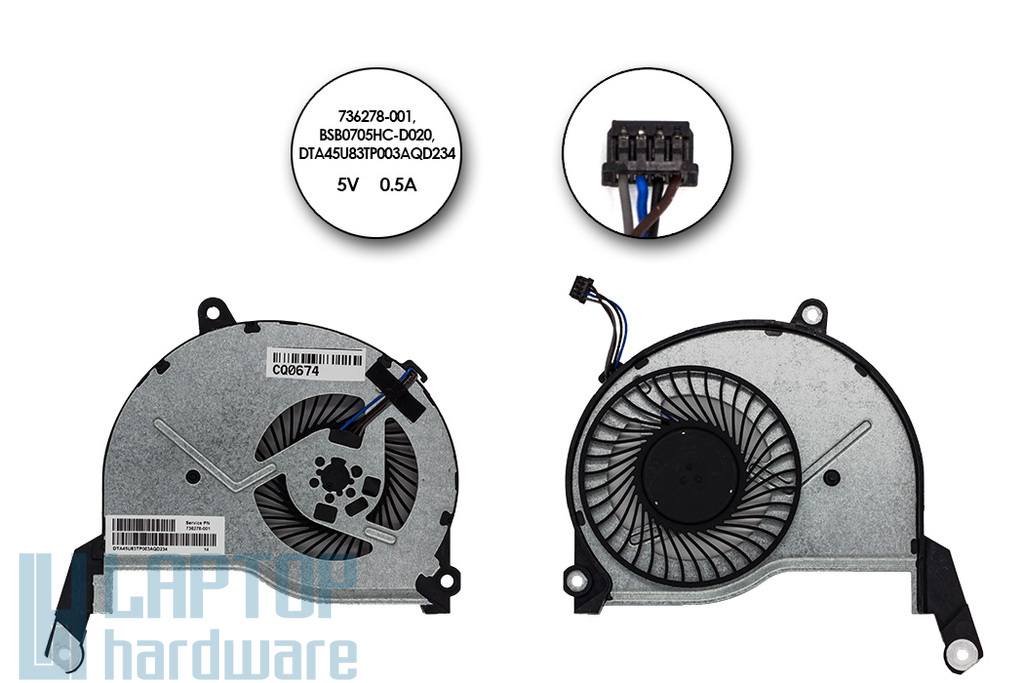HP Pavilion 15-N gyári új laptop hűtő ventilátor (BSB0705HC-D020, 736278-001)