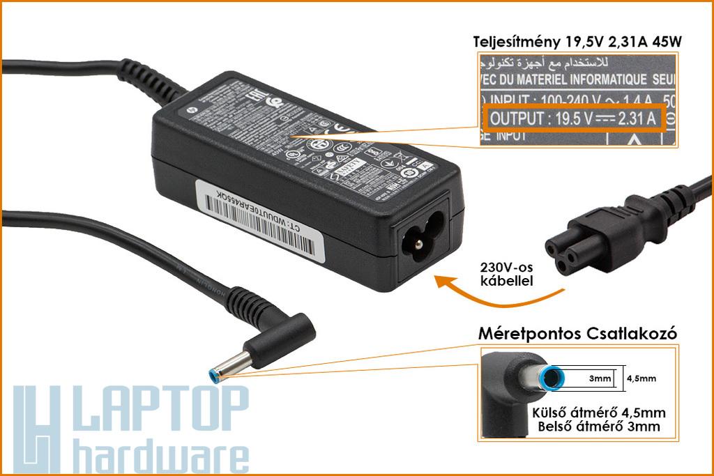 HP Pavilion 19.5V 2.31A 45W vékony center-pin 4.5mm * 3mm  gyári új laptop töltő (741727-001, 740015-002)