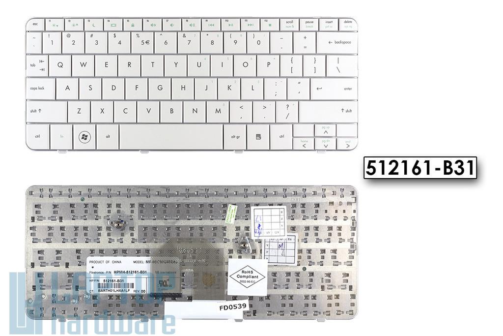 HP Pavilion DV2-1000, DV2-1100, DV2-1200 US angol fehér laptop billentyűzet, 512161-B31