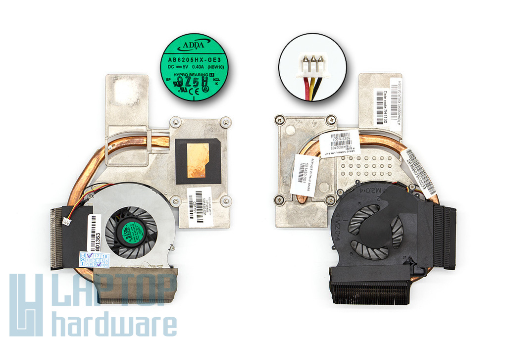 HP Pavilion DV3-2000, Compaq Presario CQ35, CQ36 laptophoz használt komplett hűtés (591430-001)
