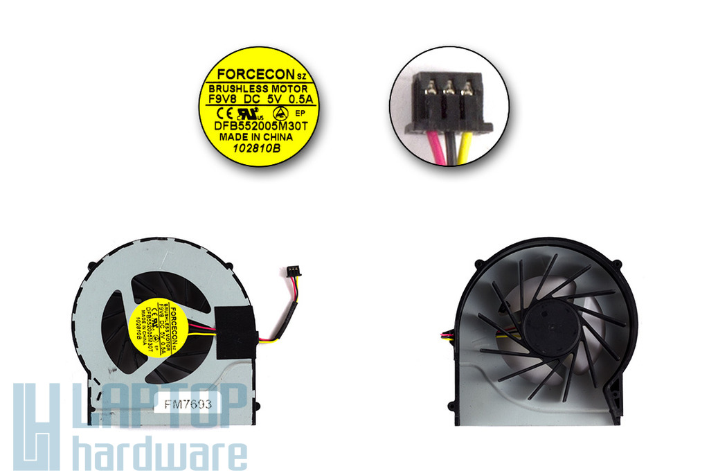 HP Pavilion DV6-3000, DV7-4000 gyári új laptop hűtő ventilátor (DFB552005M30T)