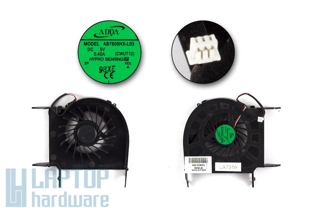 HP Pavilion dv6, dv7 használt laptop hűtő ventilátor (AB7805HX-L03)