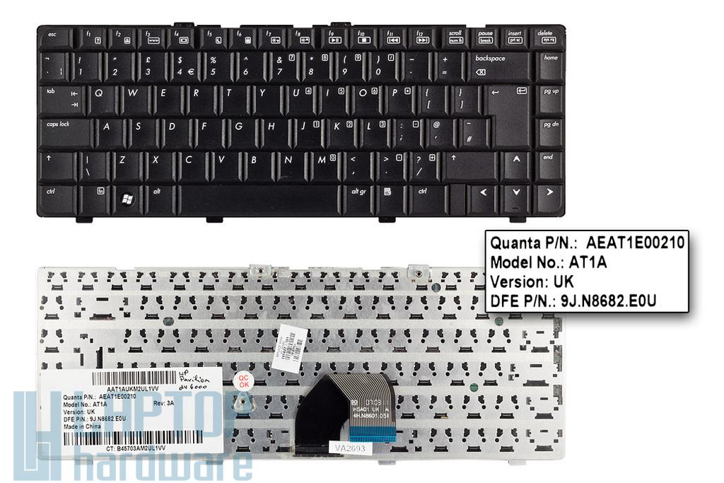 HP Pavilion dv6000, dv6100, dv6200, dv6300, dv6400, dv6500 használt UK angol laptop billentyűzet (431414-031)