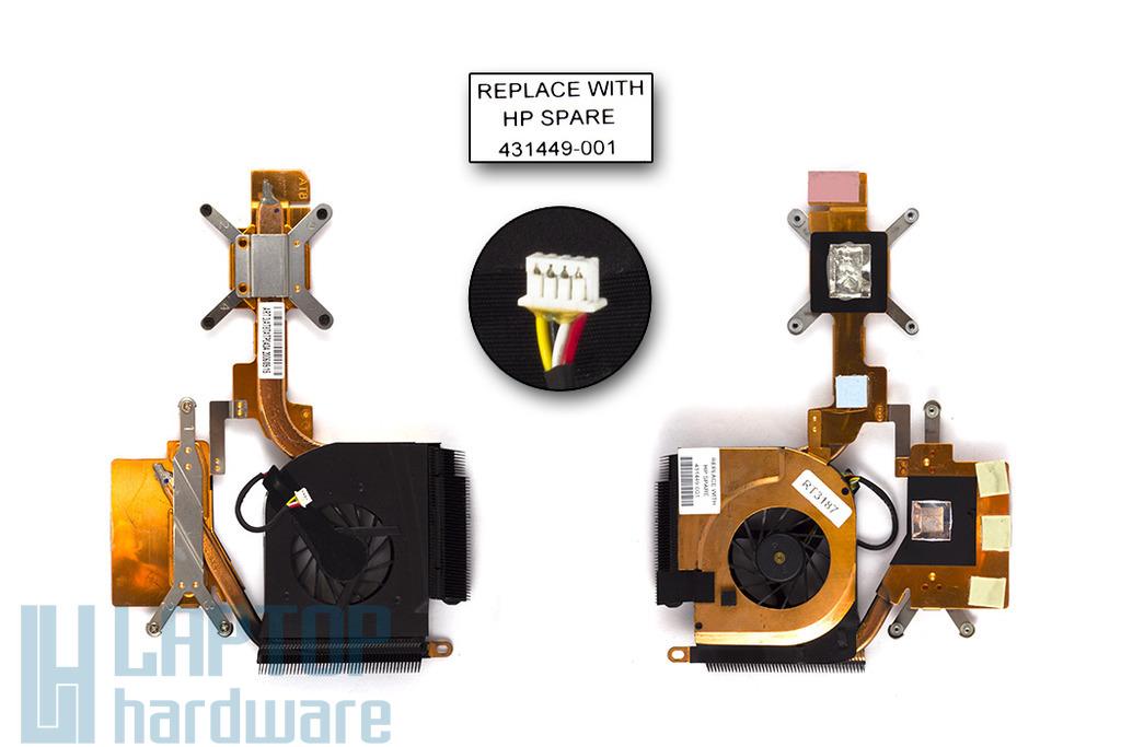 HP Pavilion dv6000, dv6100, dv6200 használt komplett laptop hűtő ventilátor egység (431449-001)
