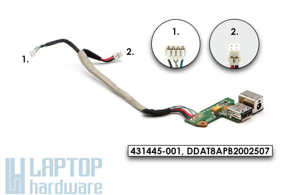 HP Pavilion DV6000 laptophoz használt (65W) DC/USB panel kábellel (431445-001, DDAT8APB2002507)
