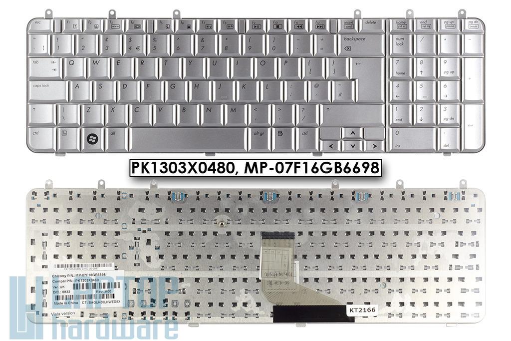 HP Pavilion dv7-1000, dv7-1100 gyári új UK angol ezüst laptop billentyűzet (PK1303X0480)