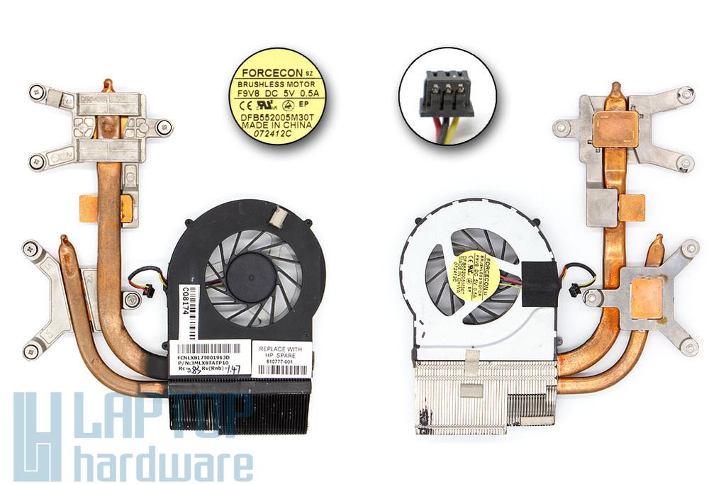 HP Pavilion DV7-4000, DV6-3000 (AMD CPU) használt laptop hűtő ventilátor egység, 610777-001