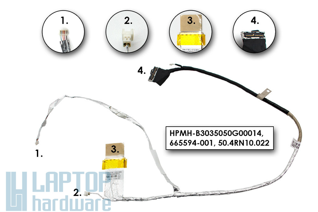 HP Pavilion DV7-6000, DV7-6100, DV7-6B, DV7-6C gyári új laptop LCD kijelző kábel (665594-001)