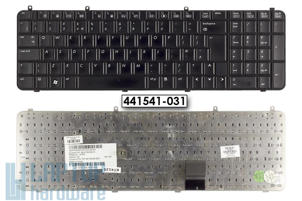 HP Pavilion DV9000 sorozat használt UK angol laptop billentyűzet, 441541-031