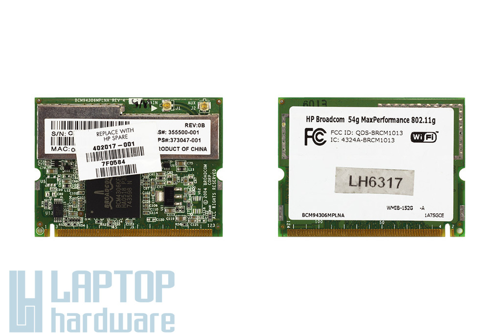 HP Pavilion laptophoz Broadcom BCM4306KFB WiFi kártya (SPS 402017-001, 373047-001)