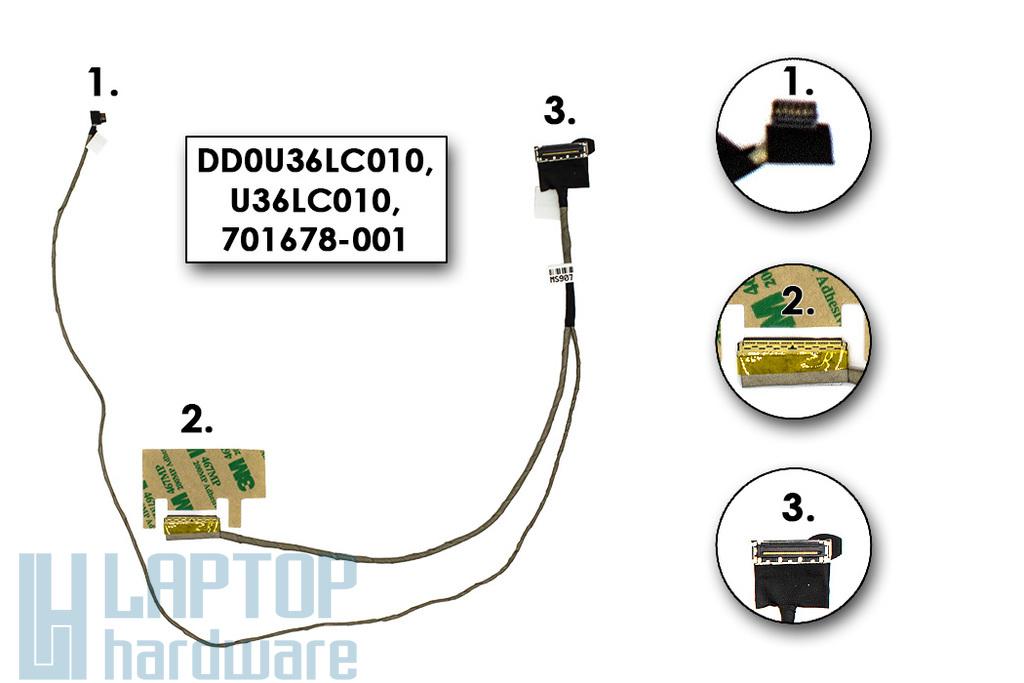 HP Pavilon 15-B, SleekBook15-B gyári új laptop LCD kijelző kábel (DD0U36LC010, U36LC010, 701678-001)