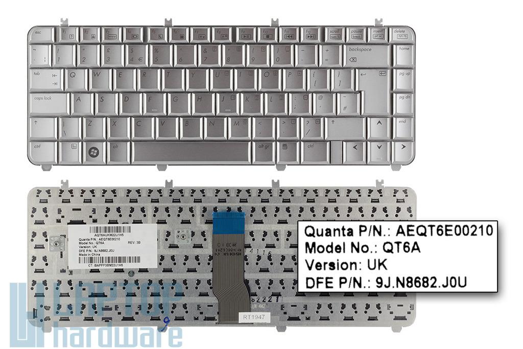 HP Pavilon DV5 gyári új UK angol ezüst laptop billentyűzet (AEQT6E00210)