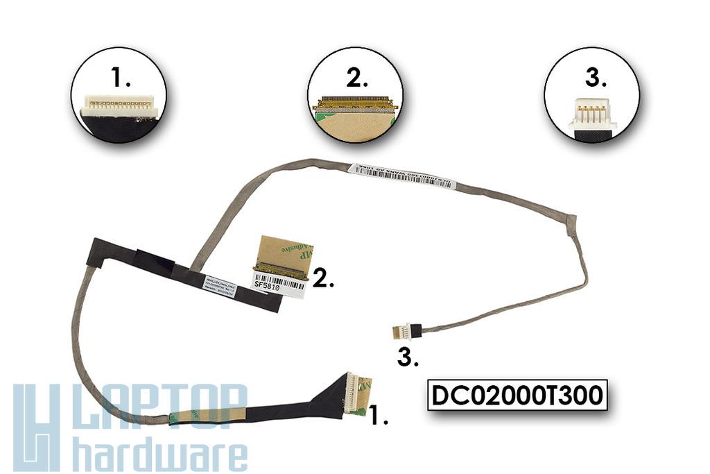 HP ProBook 4710s, 5310m, 5320m gyári új LCD kijelző kábel (13.3''), DC02000T300