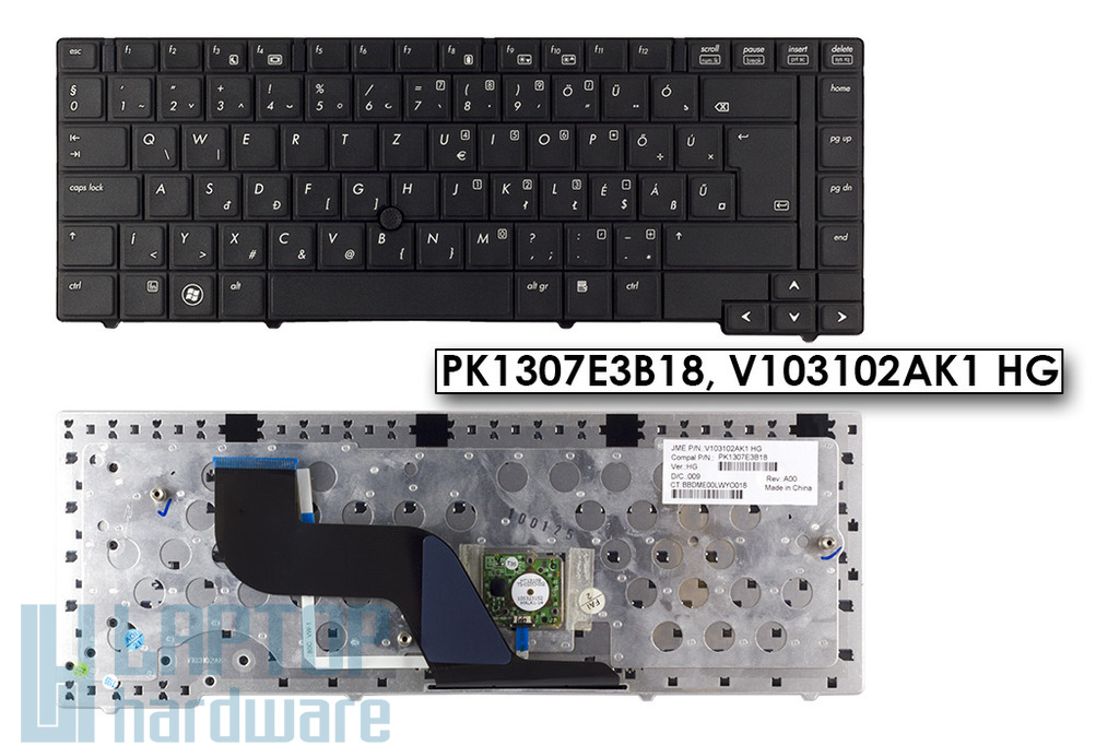 HP ProBook 6440b, 6445b, 6450b gyári új magyar laptop billentyűzet trackpointal, PK1307E3B18, V103102AK1 HG
