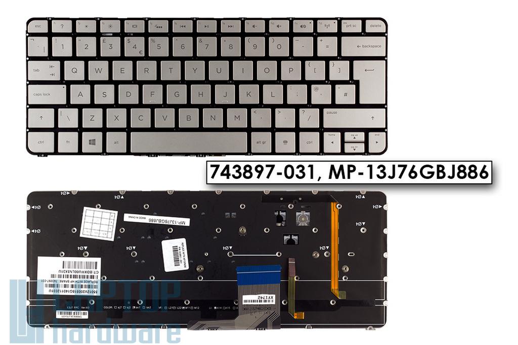 HP Spectre 13-3000 gyári új UK angol ezüst laptop billentyűzet (743897-031)