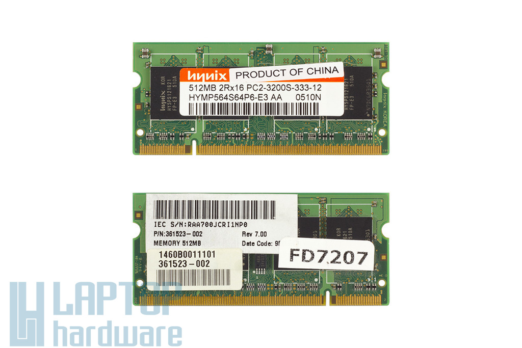 Hynix 512MB DDR2 400MHz használt memória HP laptopokhoz