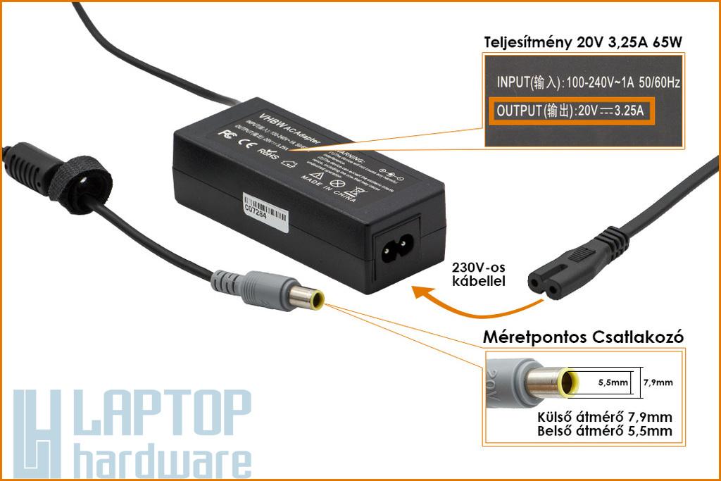 IBM Lenovo ThinkPad 20V 3.25A 65W helyettesítő új laptop töltő (92P1105, 92P1109)