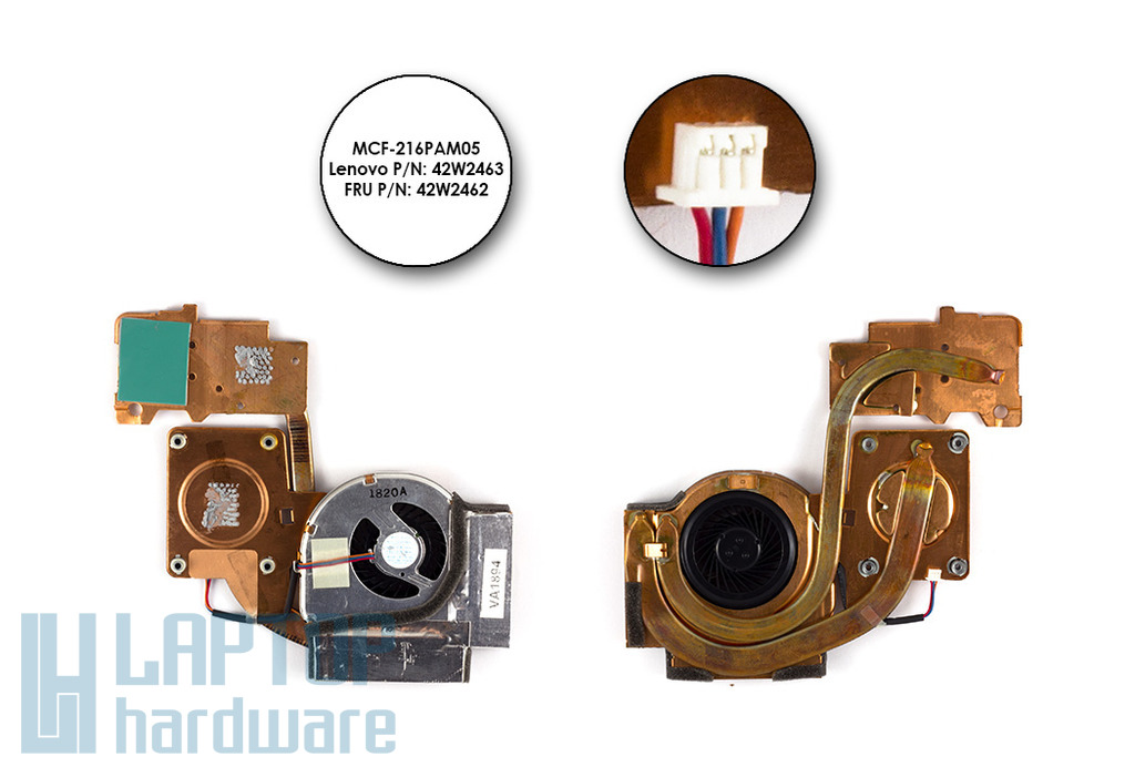 Lenovo ThinkPad R61, R61i, T61,T61p laptophoz használt komplett hűtő ventilátor egység(42W2462)